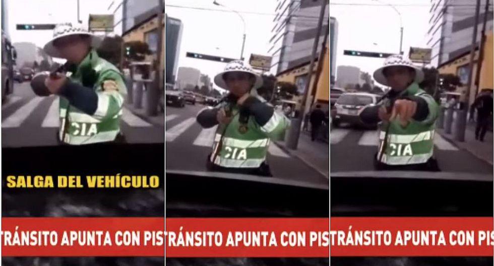 San Isidro: policía de tránsito apunta a conductor que quiso embestirlo con su auto (VIDEO)