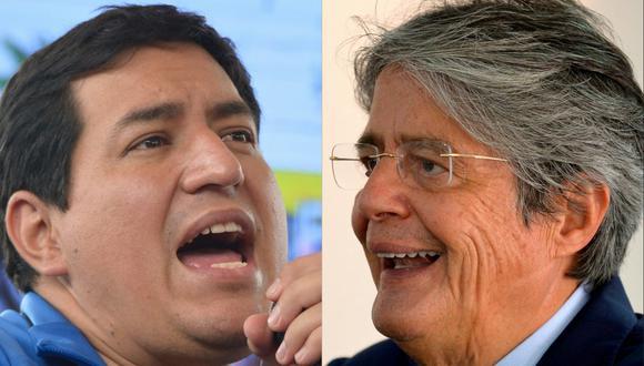 """Andrés Arauz, candidato por el partido """"Unión por la Esperanza"""", y a Guillermo Lasso, del movimiento """"Creando Oportunidades"""", captados durante sus respectivas campañas electorales. (RODRIGO BUENDIA / AFP)"""