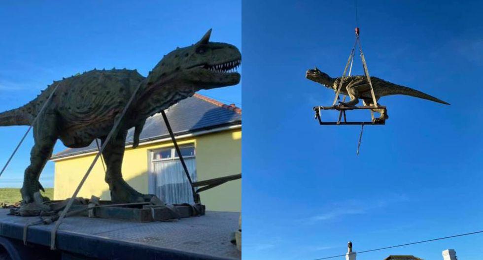 Padre pidió un juguete de dinosaurio para su hijo pero recibió uno de casi seis metros de altura (FOTOS)