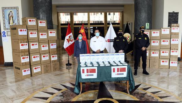 Coronavirus en Perú: China entregó 650 mil mascarillas para la policía nacional (Foto: Mininter).