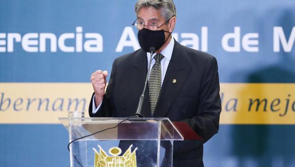 Francisco Sagasti, en su discurso por la XIII conferencia anual de municipalidades urbanas y rurales del Perú, reiteró que su paso por Palacio de Gobierno será breve y enfocado en liderar una transición hacia el bicentenario. (Foto: Alessandro Currarino / GEC)