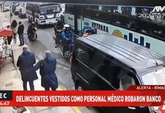 Delincuentes vestidos como personal de vacunación asaltan agencia bancaria en el Rímac