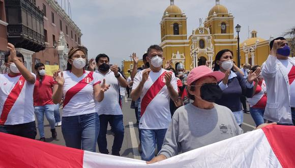 El líder del Partido Morado encabezó movilización en la ciudad de Trujillo contra la vacancia de Martín Vizcarra. (Foto: Eduardo Pérez)