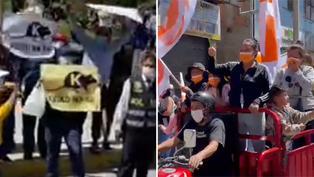 Caravana de Keiko Fujimori se encuentra con simpatizantes de Pedro Castillo en Huaraz