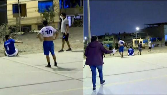 Adultos jugando una 'pichanga' en plena cuarentena en San Juan de Miraflores. | Foto: Latina.