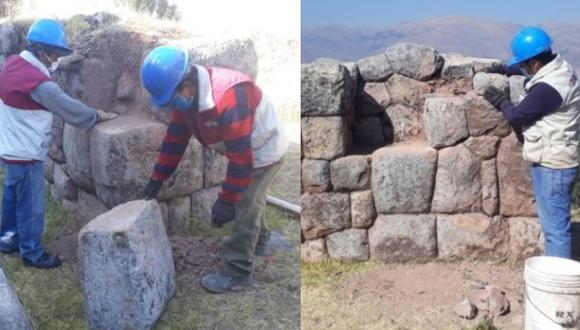 Cusco: restauran piedras desprendidas de muro inca en Rumiwasi