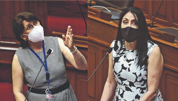 Elizabeth Astete y Pilar Mazzetti podrían afrontar detención preliminar por 7 días por el 'Vacunagate'. (Foto: GEC)