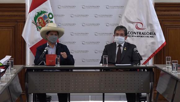 Pedro Castillo se reunió con Nelson Shack en la Contraloría General de la República. (Foto: Contraloría)