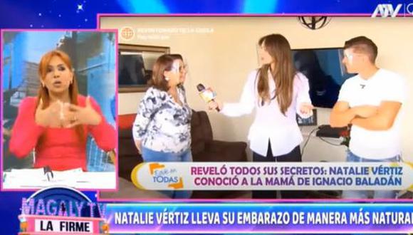 """Magaly Medina elogia a Natalie Vértiz: """"Está a un mes de dar a luz y no deja de trabajar"""". (Foto: captura de video)"""