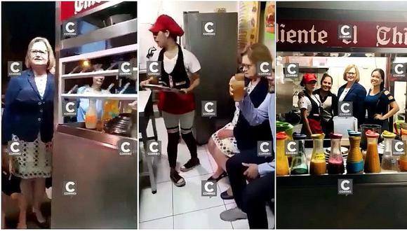 Nancy Lange disfrutó de emoliente en puesto del Cercado de Lima (FOTOS Y VIDEO)