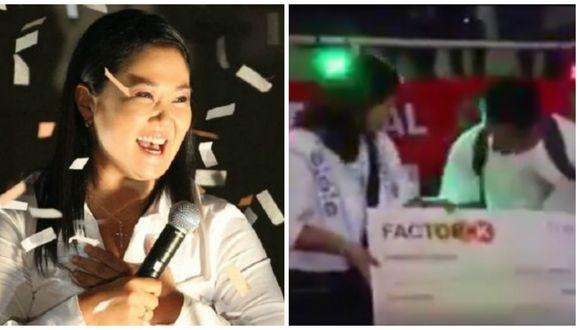 Keiko Fujimori: Candidata presidencial entregó 'cheque' en evento de Factor K (VIDEO)