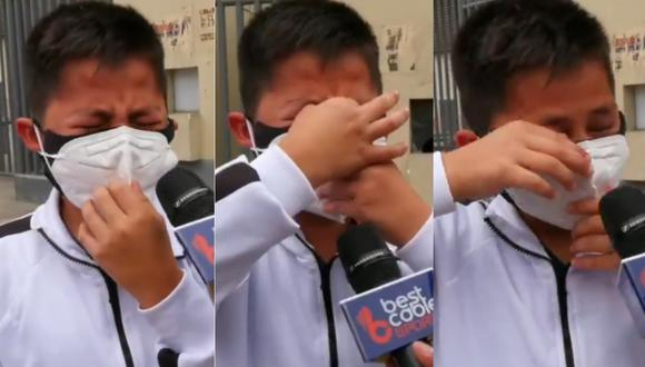Niño llorando tras ser saludado por jugadores de la selección peruana.   Foto: Captura de pantalla.