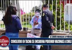 Consejero de Tacna se encadena en Consulado pidiendo vacunas contra el Covid-19 a Chile (VIDEO)