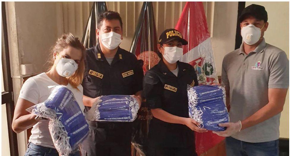 Alejandra Baigorria y George Forsyth entregan juntos mascarillas para la PNP. (Foto: Instagram)