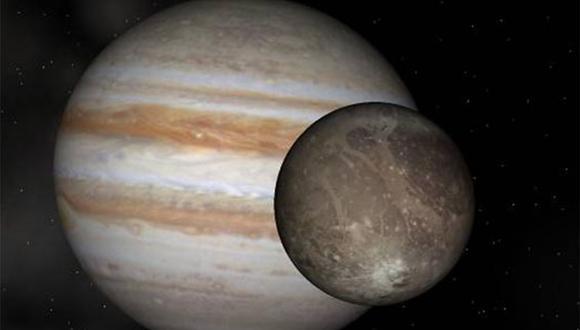 Ganímedes, una de las lunas de Júpiter.