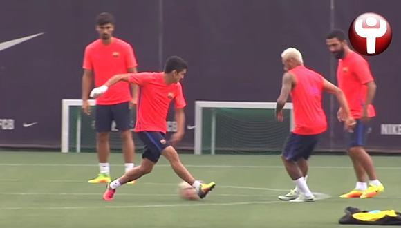 Barcelona: Mira la 'huacha' de Neymar durante entrenamiento (VIDEO)