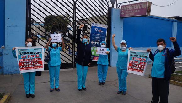 Enfermeras del Lazarte acataron plantón exigiendo mejoras laborales