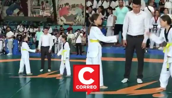 Un video viral muestra el curioso desenlace del enfrentamiento entre dos gemelas en la final de un torneo de Taekwondo y que se rehusaron a pelear la una con la otra. | Crédito: @ActualidadRT / Twitter