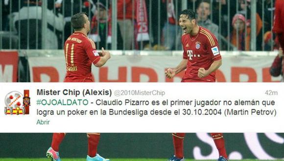 Claudio Pizarro es el primer jugador no alemán en marcar cuatro goles en la Bundesliga