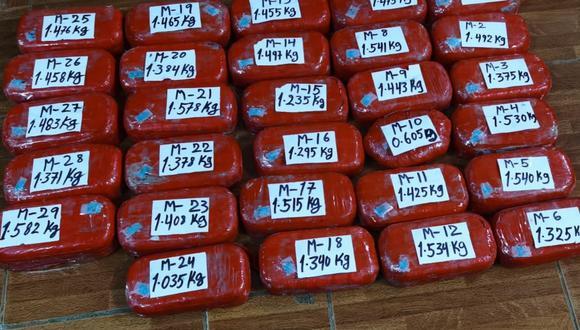 Intervienen a dos sujetos con más de 40 kilos de alcaloide de cocaína en Huánuco. (Foto: PNP)
