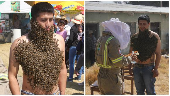 'Hombre Abeja' sorprende y asusta en la feria de Yauris