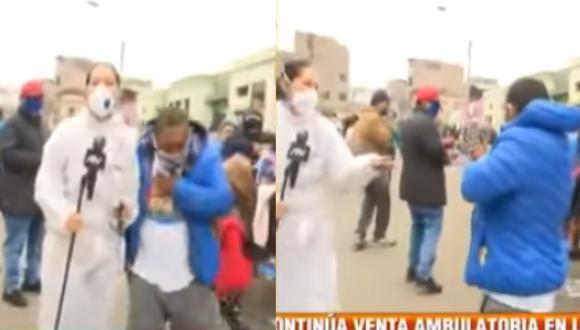 Sujeto tose frente a reportera durante enlace en vivo