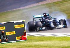 Lewis Hamilton sorprende a la Fórmula 1 y cruza meta con una llanta reventada (VIDEO)