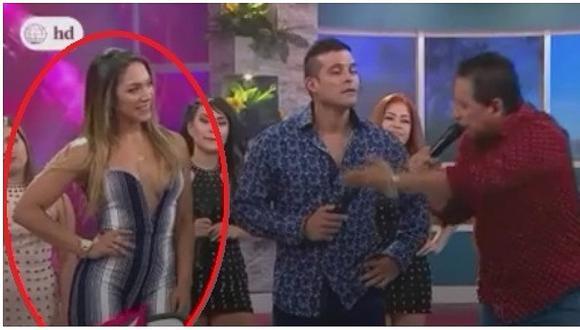Isabel Acevedo: escote casi le hace pasar incómodo momento en baile (VIDEO)