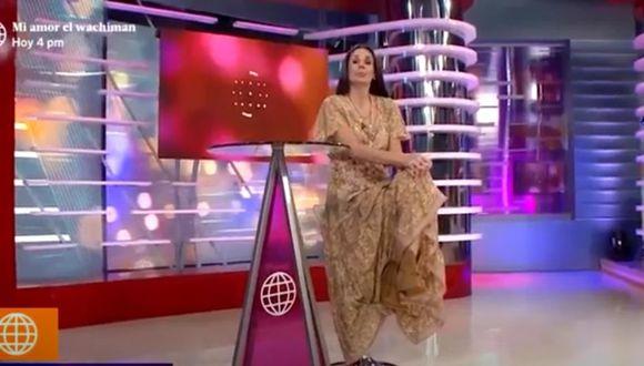Rebeca Escribens casi sufre accidente en vivo cuando ofrecía disculpas a Ignacio Baladán (Foto: captura de video)
