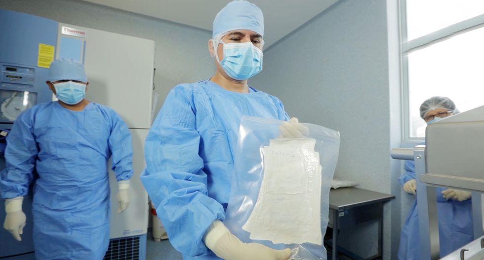 Se trata de 20,000 mil centímetros cuadrados de tejido humano que fue donada a la Institución por el Hospital Shriners para Niños de Galveston – Texas (Foto: Minsa)