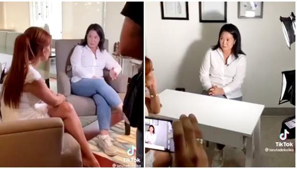 Keiko Fujimori muestra detrás de cámaras de su entrevista con Magaly Medina. (Fotos: Captura Tik Tok)