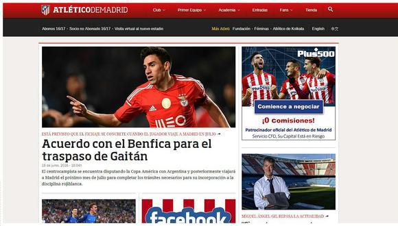 Atlético de Madrid confirma fichaje de Nicolás Gaitán