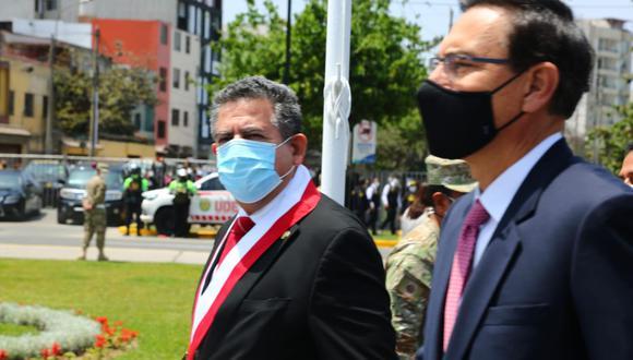Titulares del Ejecutivo y el Legislativo participaron en el homenaje por el día de las Fuerzas Armadas. (Foto: Congreso)