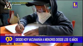 Cusco: Desde hoy vacunarán a menores desde los 12 años