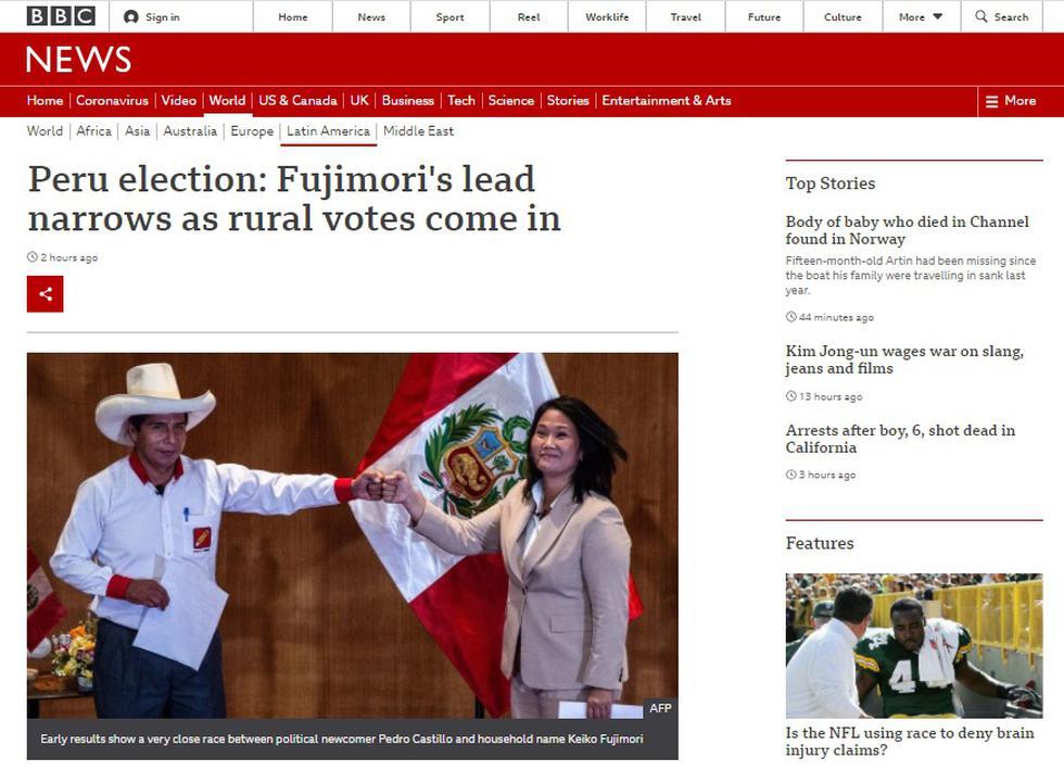 """""""La candidata de derecha Keiko Fujimori tiene una ventaja mínima sobre el izquierdista Pedro Castillo en las elecciones presidenciales de Perú, según muestran los resultados parciales"""", publicó la BBC de Londres."""