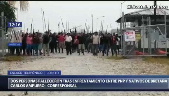 Dos muertos y más de una decena de heridos dejó enfrentamiento entre policías y pobladores en Loreto (Captura: Canal N)