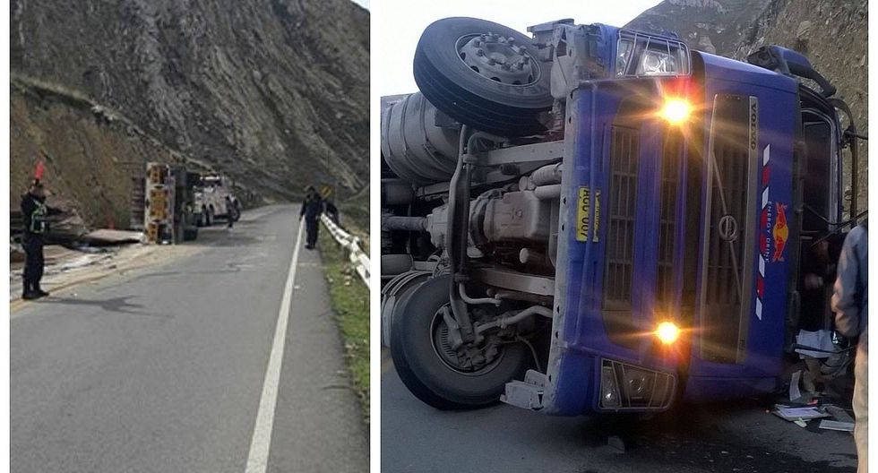 Camión lleno de carga vuelca en la Carretera Central y obstruye el pase