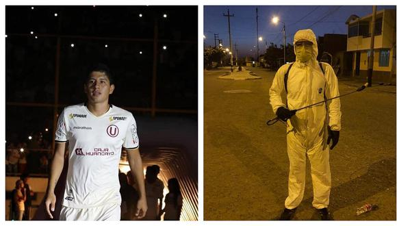 """Futbolista de la """"U"""" realiza trabajos de desinfección para vencer al COVID-19 en Cartavio (FOTOS)"""