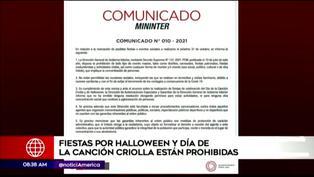 Gobierno informa que están prohibidas las fiestas por Halloween y Día de la Canción Criolla