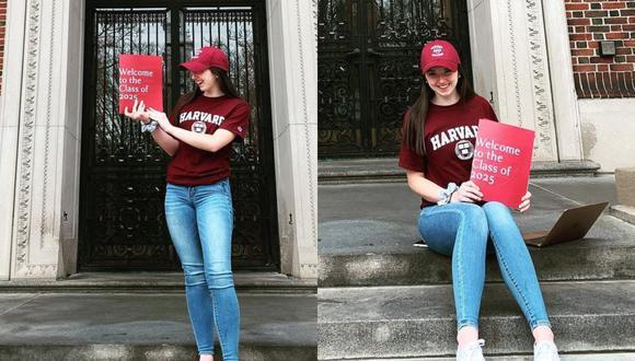 Una joven de Estados Unidos narró en varios videos de TikTok la introducción del escrito con el que fue aceptada en la Universidad de Harvard.   Crédito: @abigail_vmack / Instagram