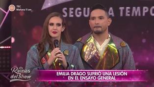 """Emilia Drago sufre fractura en costilla y se despide de """"Reinas del show"""" (VIDEO)"""