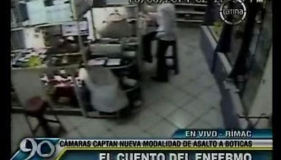 Delincuente se hace pasar por enfermo para robar botica