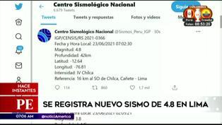 Se registra nuevo sismo en Lima