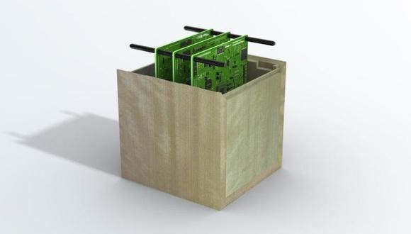 Imagen que muestra lo que sería el concepto de satélite de madera. (SUMITOMO FORESTRY/Europa Press)