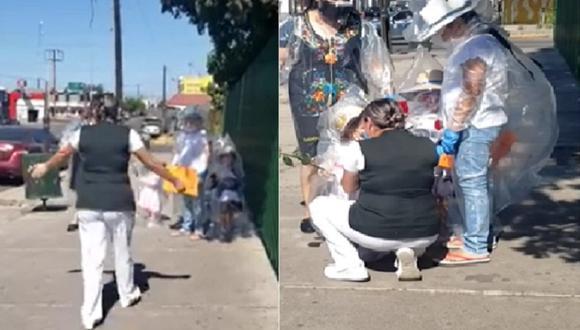 Los menores pudieron abrazar a su mamá, una escena que ha conmovido a los cibernautas.