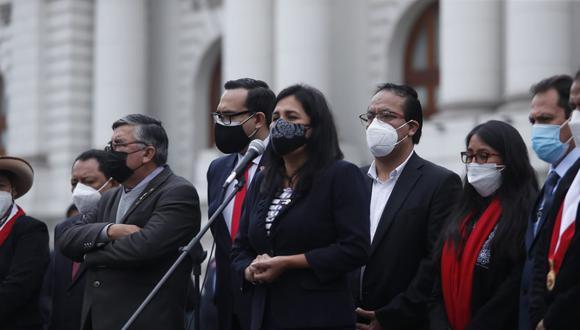 La congresista del Partido Morado reclamó junto al resto de las bancadas con la que formaron la lista 3 que fue rechazada por mayoría para que participe en la elección. (Foto: Hugo Pérez / @photo.gec)