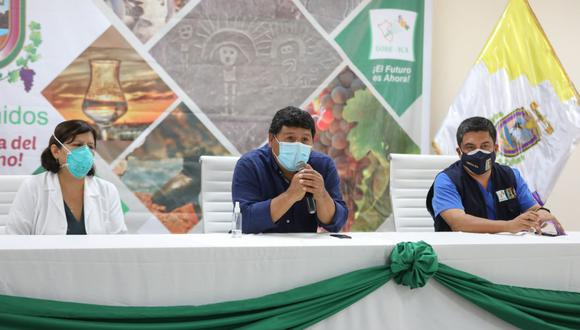 En conferencia de prensa, el director regional de Salud, Marco Cabrera Pimentel, informó el inicio en Ica provincia de la Estrategia de Vacunación