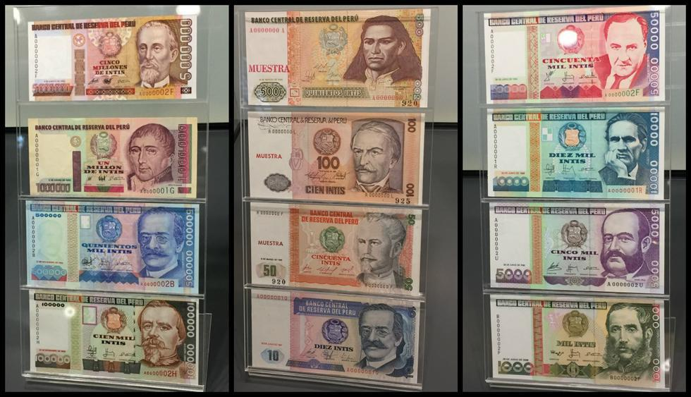 Billetes de los últimos 40 años: un repaso a los intis y soles. (Foto: BCR/El Comercio)