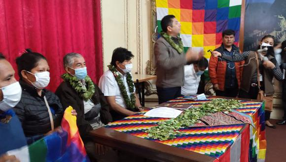 Encuentro entre el expresidente de Bolivia Evo Morales y el congresista Guillermo Bermejo. (Foto Twitter Guillermo Bermejo)