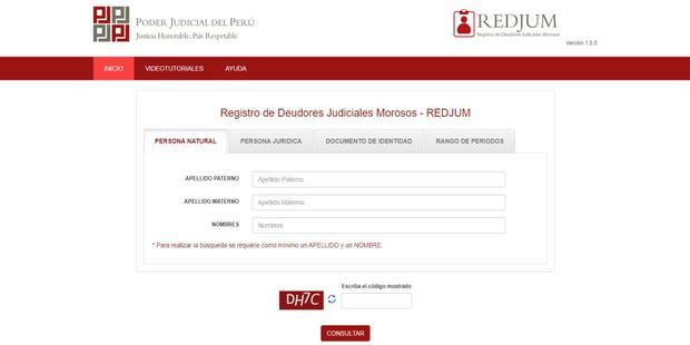 En el Registro de Deudores Judiciales Morosos (REDJUM) puede encontrar una relación de los deudores que han sido calificados como tal por el Poder Judicial (Imagen: Poder Judicial)